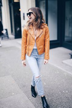 casual weekend look with tan leather jacket