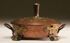 Benedict Studios Arts and Crafts hammered copper covered dish with applied riveted brass accents on lid and turned legs, also brass capped wooden pull. Copper Work, Copper And Brass, Hammered Copper, Copper Color, Bronze, Copper Dishes, Iron Decor, Metal Box, Handmade Copper