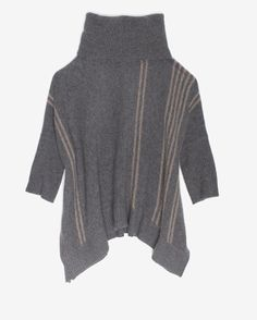 360 Cashmere EXCLUSIVE Stripe Pattern Turtleneck Poncho-SWEATER WEATHER-TREND ALERT!-What To Wear-Categories- IntermixOnline.com