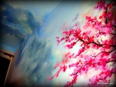 CLOUDY SKIES at CHERRY BLOSSOM - Airbrush Mural speed painting - YouTube