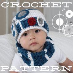 MODÈLE pour R2-D2 chapeau de bébé au crochet inspiré de Star Wars