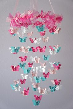 Hmm... i wonder if something like this would be easy to make... Nursery Mobile - Hot Pink & Aqua Butterfly Mobile, Photography Prop, Baby Shower Gift on Luulla