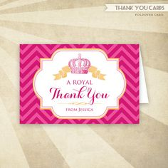 Royal Baby Shower Folded Thank You Card Printables
