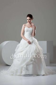 Ball Gown Wedding Dresses Spaghetti Straps Court Train Satin-organza Satin Ivory 01001020086