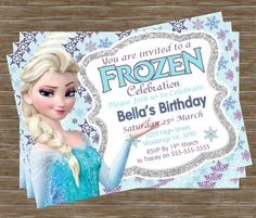 Girls Frozen Elsa Princess Printable Birthday Party Invitation This listing is for a digital file for DIY printing. No physical product will be