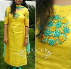 WhatsApp 9035330901 for hand embroidery dress materials customization. (No COD, No wholesale). Salwar Neck Designs, Kurta Neck Design, Kurta Designs Women, Dress Neck Designs, Kurti Embroidery Design, Hand Embroidery Dress, Embroidery Neck Designs, Churidhar Designs, Kurta Patterns