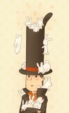 And now I suddenly have a vision of Layton confronting a bad guy and just whipping off his hat unleashing an army of evil bunnies from within it that just swarm all over the bad guy and it's the most awesome thing ever.