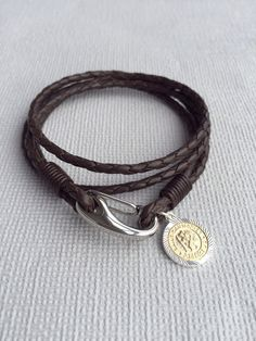 Engraved Men S Leather Bracelet 9ct Solid Gold St Christopher Medal Choice Of Size And