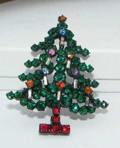 Vintage signed Made Austria Rhinestone Christmas TREE pin BROOCH costume holiday   | eBay sold