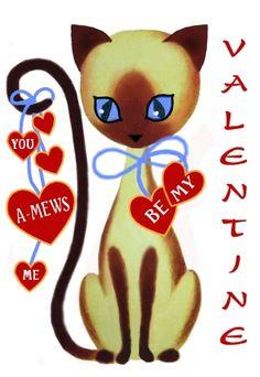 Vintage, printable Siamese cat valentines.