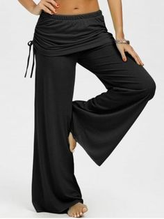 Skirted Drawstring Wide Leg Pants