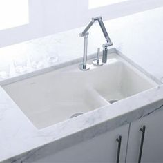 kohler k6411 2 0 indio whitecolor undermount double bowl kitchen sink - Double Ceramic Kitchen Sink