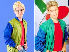 """Bookmark this '90s nostalgia DIY Halloween costume idea to dress up as Zack Morris aka """"Preppy"""" from Saved by the Bell."""