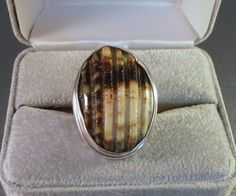 Sterling Carved Jasper Ring Ribbed Statement by LynnHislopJewels