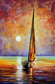 Gold Sail — Palette Knife Sailboat Seascape Ocean Wall Art Oil Painting On Canvas By Leonid Afremov. Size: X Inches cm x 90 cm) Oil Painting On Canvas, Canvas Art, Painting Canvas, Sailboat Painting, Knife Painting, City Painting, Art Amour, Purple Wall Art, Ouvrages D'art