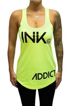 Ink Addict INK Women's Neon Yellow Racerback Tank - Ink Addict - Brands  Use the code ROCKSTARSTYLE15 for 15% OFF!