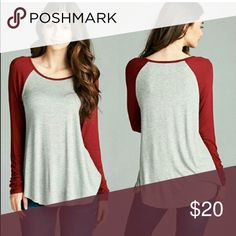 NWOT Burgundy baseball tee ⚾️ Perfect color for the fall and so incredibly soft. Easily layered for the colder nights. Perfect for every girl in every closet!💕95%rayon 5%spandex.  I am modeling a size small in the olive color and I'm 5 4' , 115 pounds and normally a xs or small. So they fit 💯 % true to size. Currently trying not to keep one for myself 😅 great gift for yourself or for a friend or family member for Christmas 🎄 they'll love it! NWOT because it's purchased from wholesale…