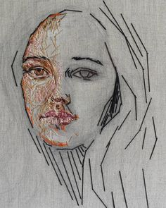 Embroidery Projects A project which I started a while back. I must get back to it and add a few more stitches. Thread Art, Thread Painting, Art Textile, Textile Artists, Portrait Embroidery, Textiles Sketchbook, Embroidery Motifs, Fabric Yarn, Sewing Art