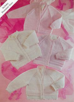 PDF Instant  Digital Download  premature baby  doll 4 ply cardigans knitting pattern 12/22 inch (523) by PatternsFromDaisylin on Etsy
