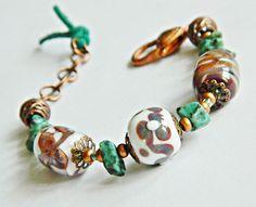 Perugia lampwork bracelet  bohemian bracelet by MarianneMerceria