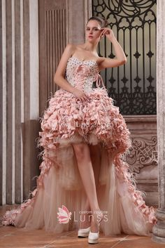 a0171d6dbe6db Unique Beaded Strapless Lace Up Peach Tulle and Satin High Low Designer  Prom Gown