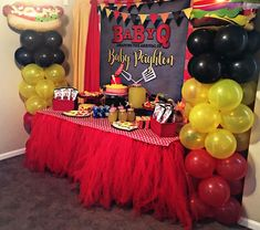 Baby Q Shower, Elegant Baby Shower, Boy Baby Shower Themes, Picnic Baby Showers, 2nd Baby Showers, Bbq Party Decorations, Baby Shower Decorations, Cow Birthday Parties, Baby Gender Reveal Party