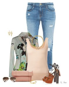 """This Blazer And These Sandals!!!"" by ksims-1 ❤ liked on Polyvore featuring Frame Denim, Marisamonti, Michael Kors, Aquazzura, Victoria Beckham, Lauren Ralph Lauren, Ray-Ban and Diane Von Furstenberg"