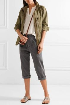 James Perse - Cropped Stretch Cotton-blend Twill Tapered Pants - Dark gray -