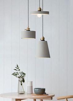 Concrete Vasa Minimalist Pendant Light – mooielight Interior Lighting, Home Lighting, Modern Lighting, Lighting Design, Light Fittings, Light Fixtures, Home Interior, Interior Design, Design Design