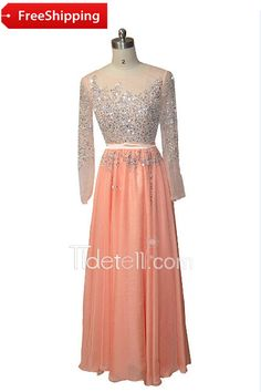 Illusion Jewel Neck Long Sleeve Chiffon Long Prom Dress With Sequins
