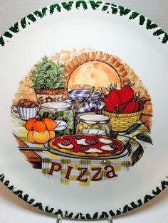 Set of 4 (Four) Italian Ceramic Pizza Plate 12\  - CMS Made in & Set of 4 (Four) Italian Ceramic Pizza Plate 12\