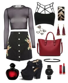 Untitled #58 by juulyh on Polyvore featuring polyvore fashion style Oh My Love WithChic Topshop AX Paris Caravelle by Bulova Nocturne Mudd BillyTheTree Casetify Max Factor Christian Dior clothing