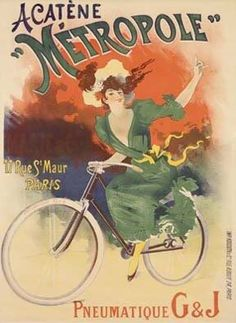 It is a wonderful reproduction of a vintage French bicycle advertising poster for chainless bicyles (so the women's full skirts wouldn't get caught in the chain). It is entitled, ' Acatene Metropole Bicycles' by Lucien Baylac in France in 1898.