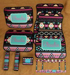 Car Mats Monogrammed Gifts Aztec Tribal Personalized Custom Car Mats Cute Car Accessories For Women Car Mat Monogram Gift Ideas Sweet 16