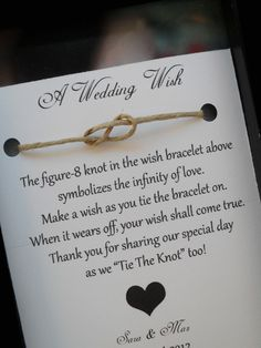 A Wedding Wish bracelet. Such a cute favor.. I have to do this!