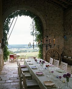 Come see photos of beautiful French Country decor within these Provence-inspired interiors in France and outside of France. Get lovely decorating ideas and glimpses of rustic elegance, effortless undone charm, and simple sophistication. Outdoor Rooms, Outdoor Dining, Outdoor Decor, Indoor Outdoor, Rustic Outdoor, Ireland Homes, Al Fresco Dining, Yoga Retreat, Home Photo