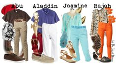 Family outfits inspired by various characters of the movie Aladdin!How fun would it be to dress up your whole family in Disney characters?!