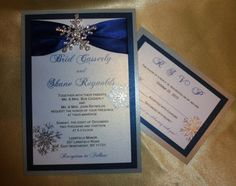 "Navy Blue -Pocket Luxury  Winter Wedding Invitation (sample) -"" Snow Falling At Night "" on Etsy, $6.00"