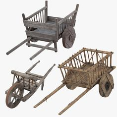 Medieval Wagon Hand Cart and Wheelbarrow Model , - Modern Design Hand Cart, Wooden Wagon, Old Wagons, Wheelbarrow, Table Games, Miniture Things, Wood Toys, Baby Decor, Wood Projects