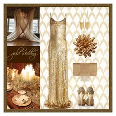 """winter gold wedding"" by art-gives-me-life ❤ liked on Polyvore featuring Barclay Butera, Michael Kors, Whiting & Davis, White House Black Market, contestentry and weddingdaystyle"