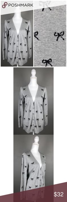 """NWOT Lauren Conrad Boyfriend Sequin Bow Cardigan NEW without tags!!  LC Lauren Conrad. Medium. Light gray with black sequin bows on front and back. Long sleeves fully button down front. Boyfriend style {over-sized}. Picturesare part of the description.  60% Cotton, 40% rayon- Machine wash  {Measurements taken flat without stretching} Armpit to armpit approx. 20 -21"""" Length approx. 29""""  FAST SHIPPING!Usually ships same or next business day!! {Seller's note:D1} LC Lauren Conrad Sweaters…"""