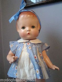 "Vintage 1930s Effanbee Patsy 14"" Doll Composition in Original Blue Dress"
