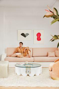 my scandinavian home: The Fabulous LA Home of Garance Doré With Peachy Tones Built In Sofa, Built Ins, Wabi Sabi, Deco Rose, Sarah Sherman Samuel, Turbulence Deco, Los Angeles Homes, Los Angeles Apartments, Custom Cushions