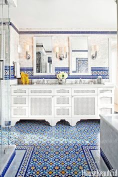 Photograph of #bathroom tiles in a Moroccan pattern