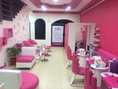 Love the pink salon chairs and pink accents