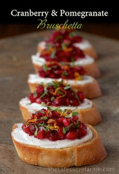 Appetizers to Kick Off the Holiday Right Cranberry and Pomegranate Bruschetta - the perfect Thanksgiving appetizer!Cranberry and Pomegranate Bruschetta - the perfect Thanksgiving appetizer! Healthy Appetizers, Appetizers For Party, Appetizer Ideas, Tailgate Appetizers, Fall Recipes, Holiday Recipes, Holiday Ideas, Dip Recipes, Christmas Recipes