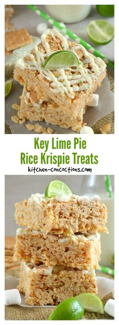 Key Lime Pie Rice Krispie Treats - A sweet childhood treat with the flavors of a sophisticated dessert, this Key Lime Pie Rice Krispie Treat recipe, is the perfect no bake dessert for sharing with friends!