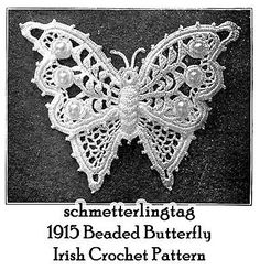 1915 Titanic era Vintage irlandés Crochet Mariposa Adorno patrón de apliques 5 Diy