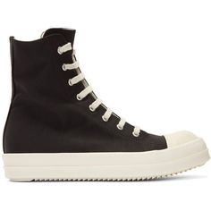 Rick Owens Drkshdw Black Nylon Canvas Cap Toe High-Top Sneakers ($820) ❤ liked on Polyvore featuring men's fashion, men's shoes, men's sneakers, black, mens black high top shoes, mens black cap toe dress shoes, mens black sneakers, mens cap toe shoes and mens lace up shoes