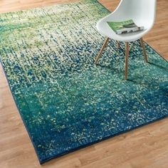 Skye Monet Blue Cascade Rug (3'9 x 5'2) | Overstock.com Shopping - The Best Deals on 3x5 - 4x6 Rugs